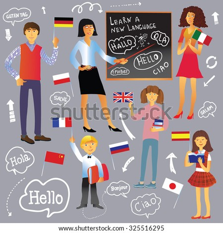 Cartoon set of people. Children, men, women, teacher at the blackboard. Learning foreign languages. Flags of different countries, arrows, bubbles with greetings in different languages. - stock vector