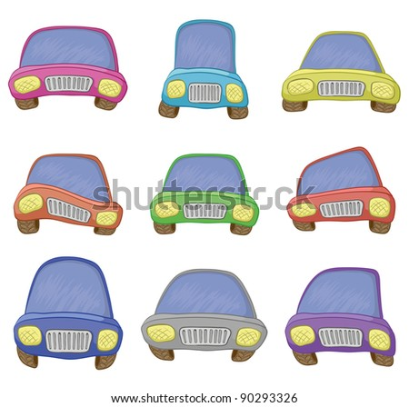 Cartoon: set various cars, isolated on white background. Vector - stock vector