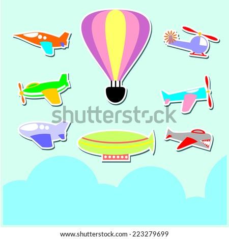 Cartoon Set Vector of Various Air Plane Complete - stock vector