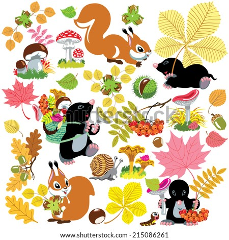 cartoon set with autumnal harvest of forest, autumn season, isolated images for little kids