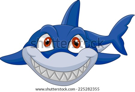 Cartoon shark - stock vector
