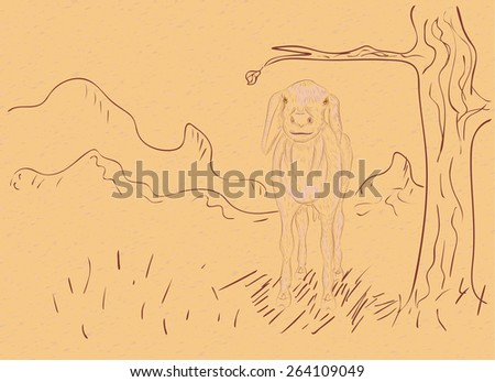 Cartoon sheep and rural landscape in hand drawn style on paper background. - stock vector