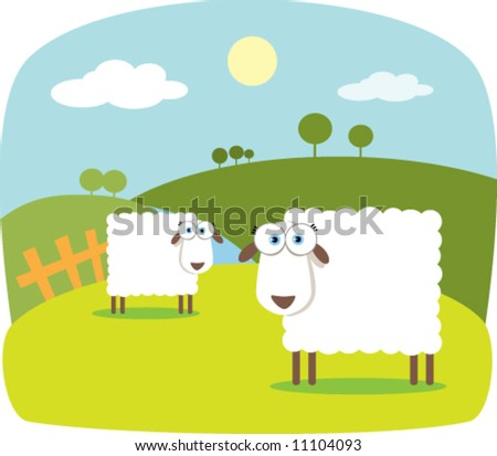 Cartoon Sheep with Big Eye - stock vector