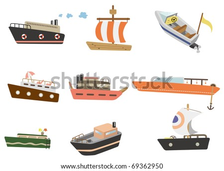 cartoon ship icon - stock vector