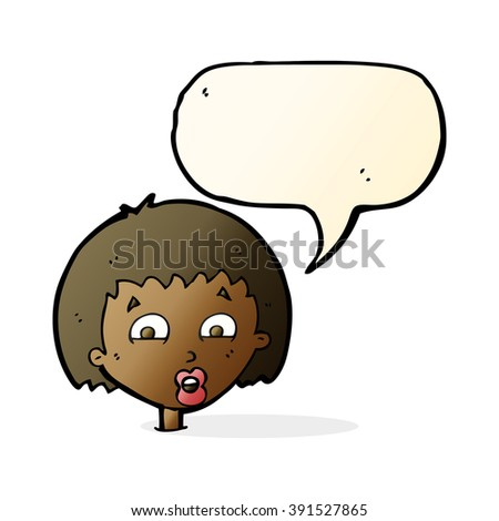 cartoon shocked expression  with speech bubble - stock vector