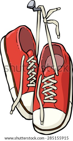 Cartoon shoes on a nail vector illustration - stock vector