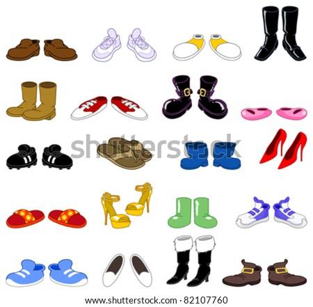Cartoon shoes set - stock vector