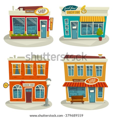 Cartoon shop building set isolated on white / vector illustration / front view / exterior / facade - stock vector