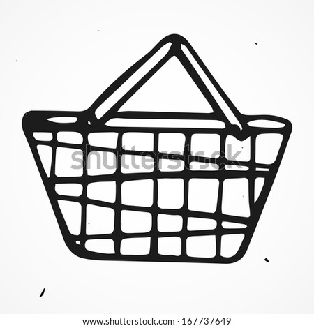 Cartoon shopping basket, hand drawn - stock vector