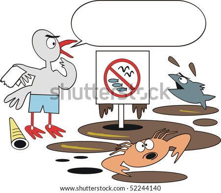 Cartoon showing bird, crab and fish suffering effects of oil pollution.