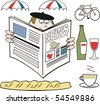 Cartoon showing French man reading newspaper with wine and bicycle in background. - stock vector