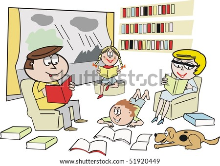 Cartoon showing happy family reading and learning from books indoors with rainy weather outside.