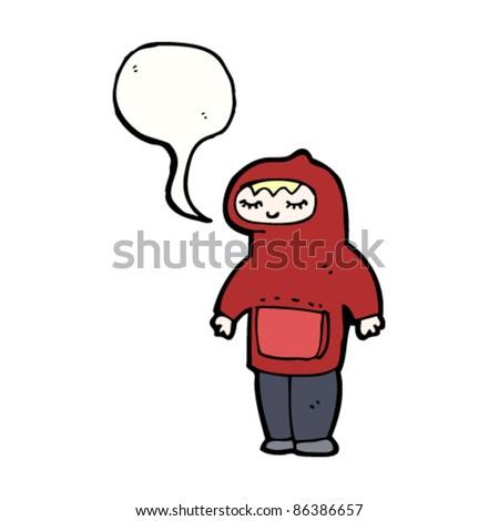 cartoon shy blond teen boy in hooded top - stock vector