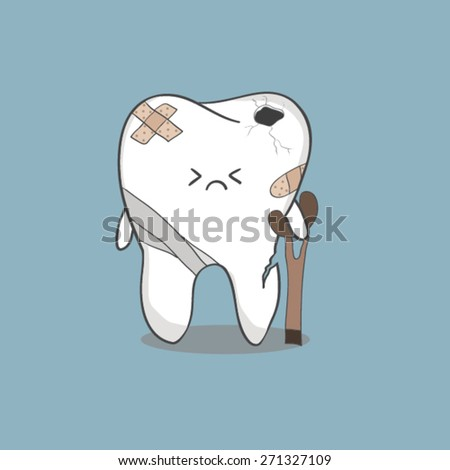 cartoon sick tooth with sticky plaster and bandages - stock vector