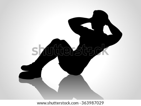 Cartoon silhouette of a man doing sit up - stock vector