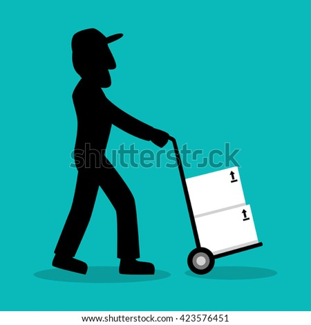 Cartoon silhouette of delivery man with push cart - stock vector