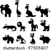 Cartoon silhouettes of animals - stock vector