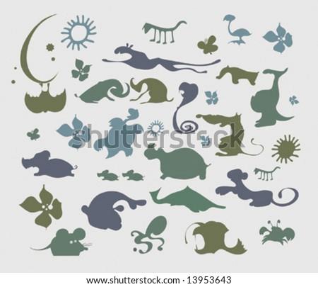 Cartoon silhouettes of wild animals - stock vector