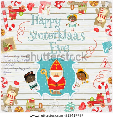 Cartoon Sinterklaas or Saint Nicholas - Dutch Santa Claus and Pete on White Wooden Background. Holiday Frame. Christmas in Holland.Vector Illustration.