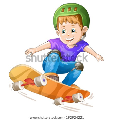 Cartoon skater boy flying through the air - stock vector