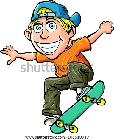 Cartoon skater boy flying through the air. Isolated