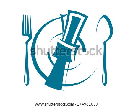 Cartoon sketch of a stylized dinnertime table setting with a fork and spoon logo on either side of a napkin lying on top of a plate, overhead perspective - stock vector