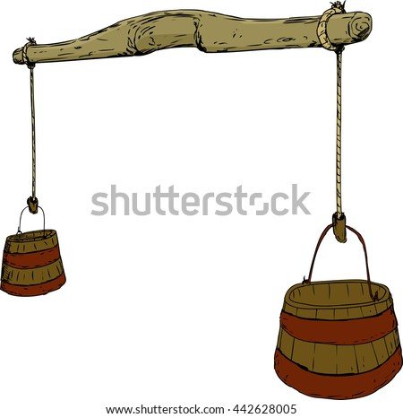 Cartoon sketch of 18th century carved wooden yoke with rope holding two large buckets for carrying water - stock vector