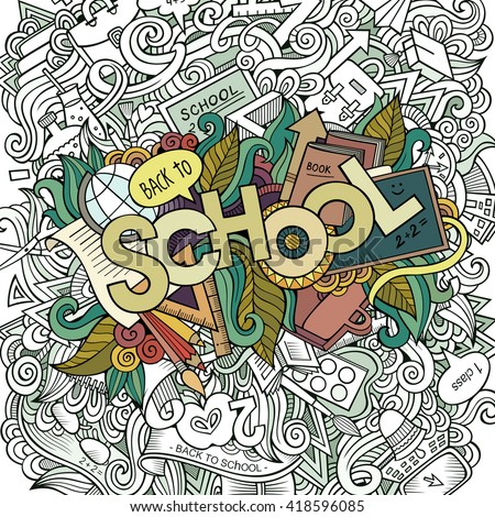 Cartoon sketchy hand-drawn Doodle on the subject of education. Design background with school hand lettering, objects and symbols. Vector illustration. - stock vector