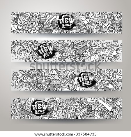 Cartoon sketchy vector hand-drawn Doodle on the subject of New Year & Christmas. Horizontal banners design templates set - stock vector