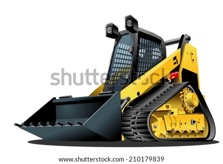 Cartoon Skid-steer. Availabe eps-10 vector format separated by groups and layers for easy edit - stock vector