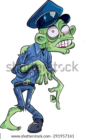 Cartoon skulking policeman zombie. Isolated on white