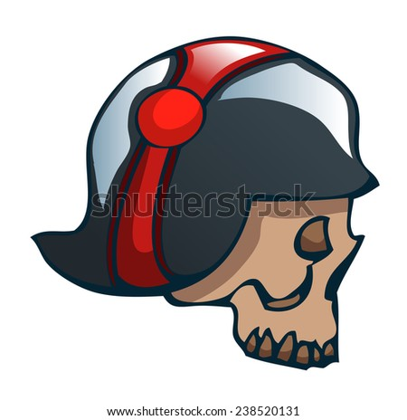 Cartoon Skull in a World War Two Helmet, Vector Illustration isolated on White Background, Outlines available on separate Layer.  - stock vector