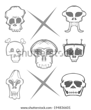 cartoon skull set isolated on white - stock vector