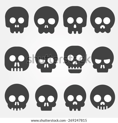 Cartoon skull vector icon set - stock vector