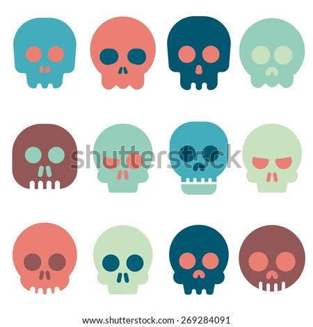 Cartoon skull vector icon set  - stock vector