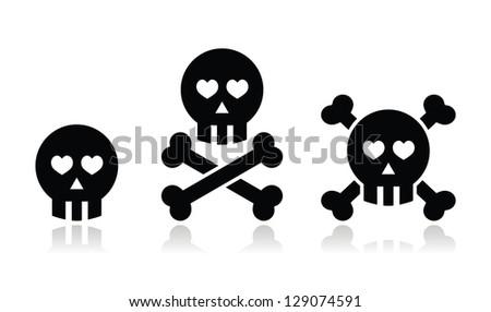 Cartoon skull with bones and hearts vector icon set - stock vector