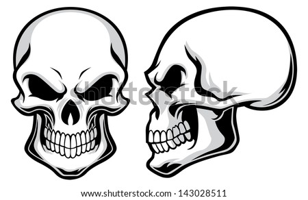 cartoon skulls - stock vector