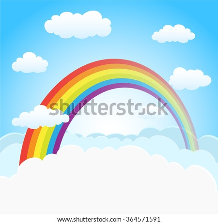 cartoon sky background with rainbow and clouds. vector - stock vector