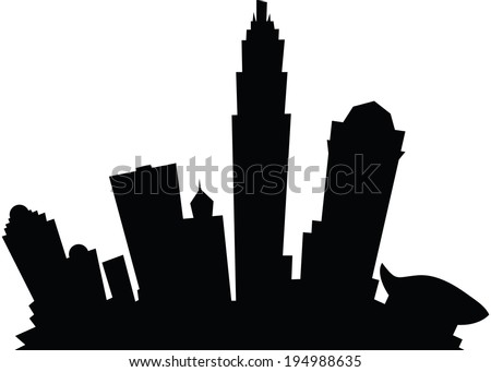 Cartoon skyline silhouette of