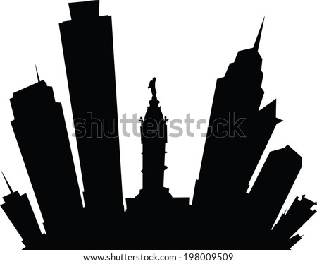 Cartoon skyline silhouette of the city of Philadelphia, Pennsylvania, USA.