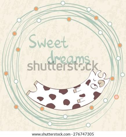 Cartoon Sleeping cow. Cute Hand Drawn  illustration - stock vector