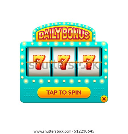 Cartoon slot machine. Daily bonus. Gambling game. Eps10 vector 777 slots illustration.