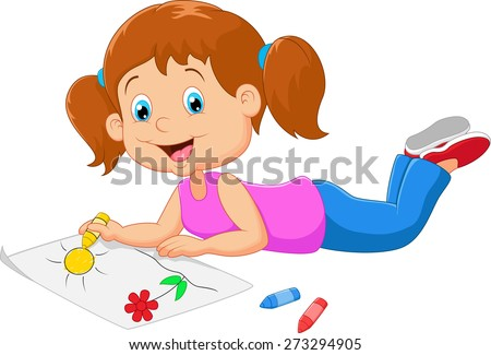 Cartoon small beautiful girl paints on paper - stock vector