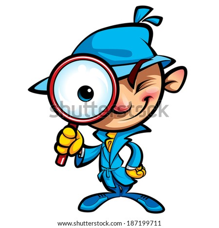 Cartoon smart detective in investigation with blue coat looking through big magnifying glass smiling and closing one eye - stock vector