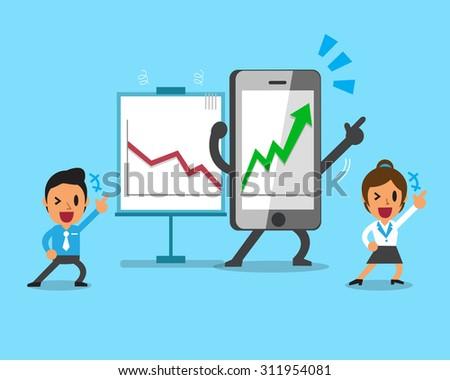 Cartoon smartphone help business people to make more profitable - stock vector