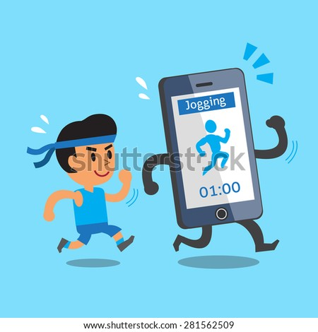 Cartoon smartphone jogging with a man - stock vector