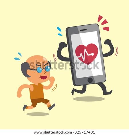 Cartoon smartphone jogging with old man - stock vector
