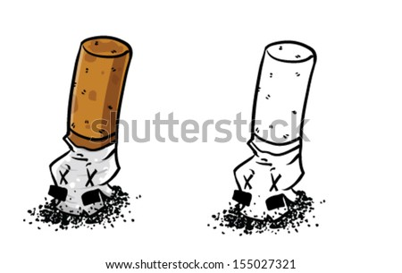 Cartoon smashed cigarette - Vector clip art illustration on white background - stock vector