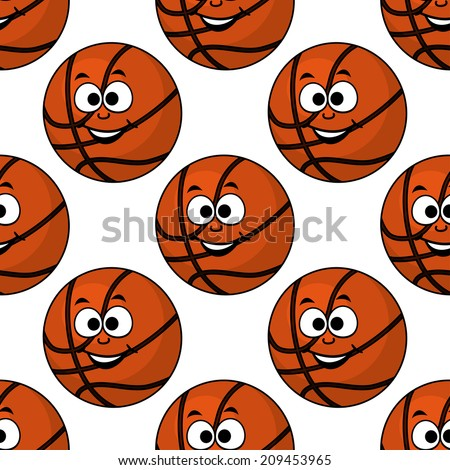 Cartoon smiling basketball seamless pattern on white background for sport or leisure design - stock vector