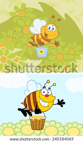 Cartoon Smiling Bee Flying With A Honey Bucket. Vector Collection Set - stock vector